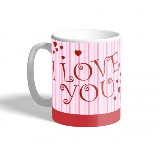 pink stipes i love you mug